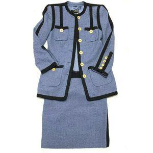 Dresses & Skirts - Rena Lange Wool Blend Skirt Set 6 Gold Buttons Vtg